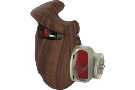 Wooden handgrip with double LANC switch (right hand)